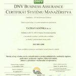 Tatravagonka certifikát QMS SJ