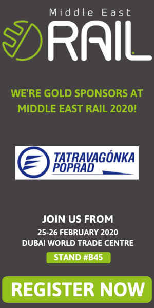 We're gold sponsors at Middle East rail 2020! Join us from 25-26 february 2020, Dubai World Trade Centre, Stand #B45
